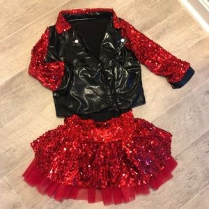 Black Bodysuit w/ Attached Red Sequin Skirt Dance